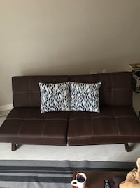 Futon sofa bed - Brown, Faux leather North Vancouver, V7M 1H4