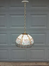 white and brown floral stained glass pendant lamp Yorkville, 60560