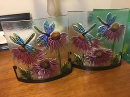 Flower & dragonfly candle holders