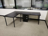 black wooden desk with black rolling chair Houston, 77095