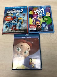 Toy Story 2, The Smurfs 2 (New) and Inside Out (New) 30$ All 3