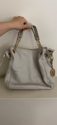 Michael Kors white leather handbag