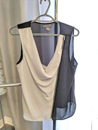 black and gray sleeveless zip blouse Barrie