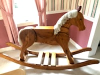 6 foot solid oak rocking horse vintage rare toy collector display art
