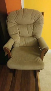 brown wooden frame gray tufted backrest padded glider chair