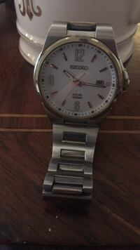 round silver-colored Seiko analog watch with link bracelet Washington, 20024
