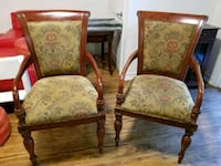 two brown wooden framed padded armchairs Barrie, L4N 5W9