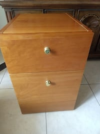 brown wooden 2-drawer filing cabinet.