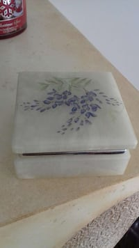 white and purple floral print box