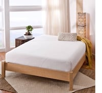 white wooden bed frame and white mattress Happy Valley, 97086