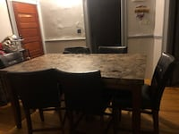 Brown marble high top table w/ 6 chairs  Manchester