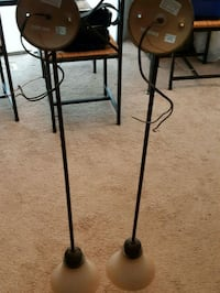 Two hanging light fixtures 38 and 3/4 High