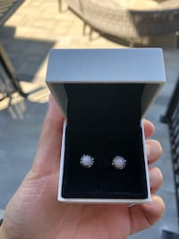 Pandora silver/pink earrings