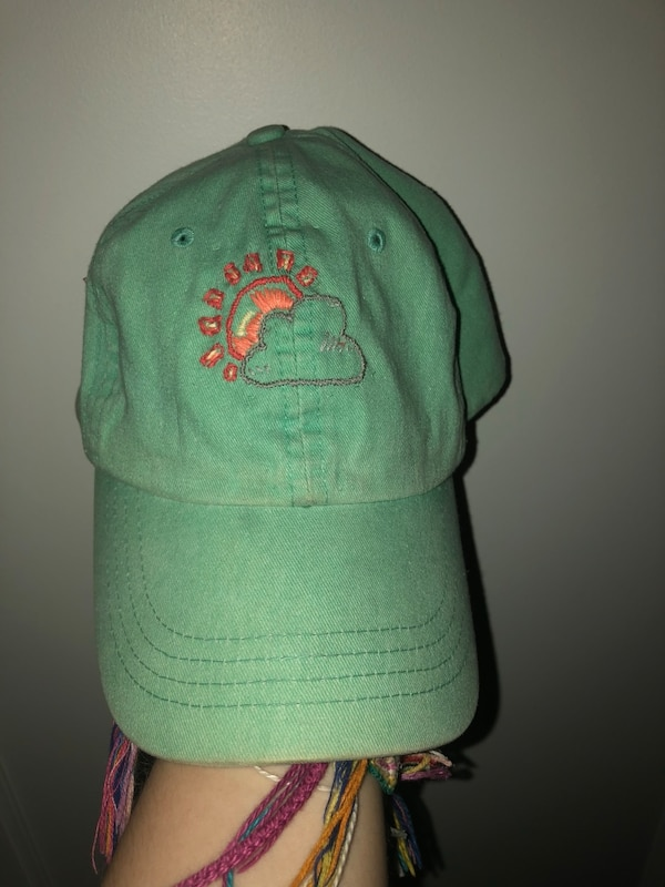 Turquoise Baseball Cap With Hand Embroidery Hat