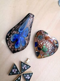 Murano glass and Micro Mosaic pendants Italy