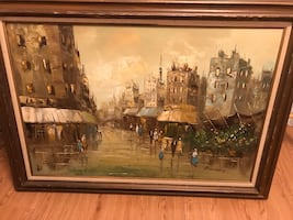 Large vintage painting on canvas -P.Murphy