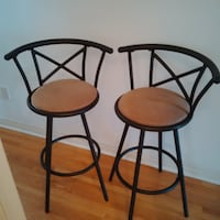 Set Of 2 Gorgeous Metal Bar Stools With Crown Back Vaughan