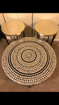 """New 3 pieces living room table set mosaic coffee table 31""""round 18"""" hight 2 end tables 22"""" round 20"""" hight pick up in Gaithersburg Maryland all sales final  Gaithersburg, 20877"""