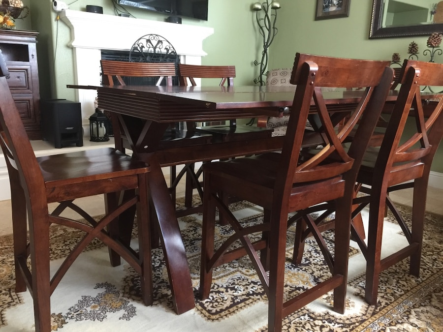 used dining table with 6 chairs countertop height for sale in gilroy rh gb letgo com countertop height dining room table Round Counter Height Dining Sets
