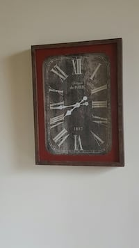 rectangular brown wood-framed roman numeric analog wall clock Rockville, 20853
