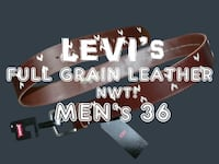 NWT! $70 *LEVI'S* men's 36 Detailed Full Grain Leather Belt Brown Toronto