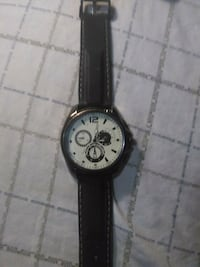 round silver-colored chronograph watch with black leather strap Kingston, K7K 4M9