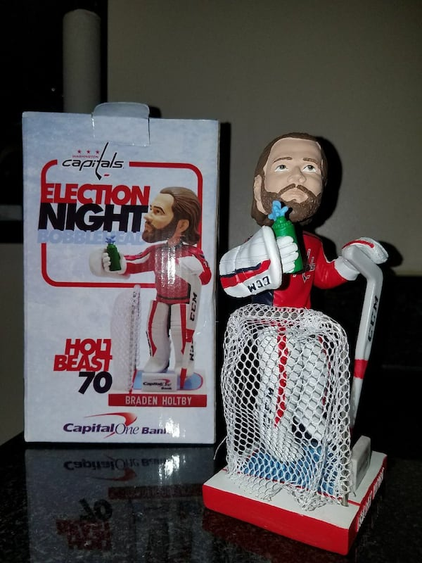 BRADEN HOLTBY Election Night Bobblehead - Trumpedq b9008eae-6f82-4912-ae4d-363a9d6ce663