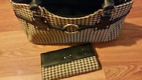white and black gingham leather wallet and bag Hurricane, 25526