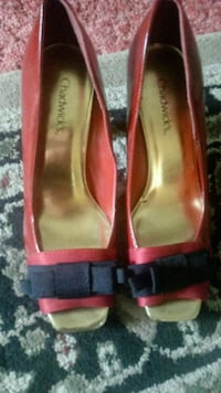 pair of red leather peep-toe heeled shoes Fountain, 80817