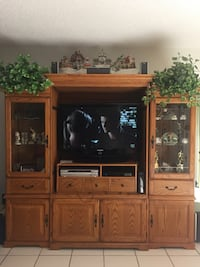 Wood entertainment center with lighted display cases. Plenty of storage for movies, CDs, photo albums, etc