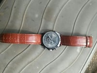 round silver chronograph watch with red leather strap Belton, 76513