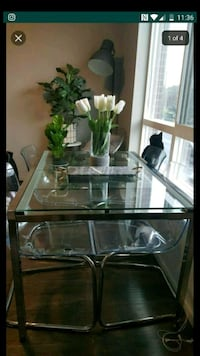 Ikea chrome and glass fold out dinner table  Federal Way, 98023
