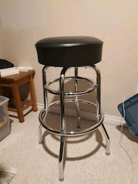Black leather seat, metal bar stool Fort McMurray, T9H 1H8