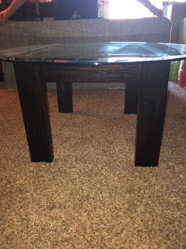 coffee table (handmade wooden stained base) 2928eb12-8e34-4740-bb41-02027db58362