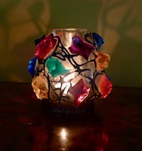 "60's RETRO Chunk Gem Tealight Glass 5"" Votive Candle Holder Bethesda, MD, USA"