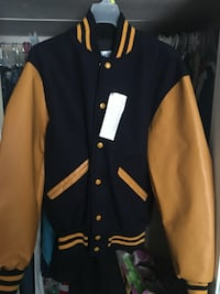 Yellow and black letterman jacket