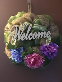 Burlap welcome with pink, blue and purple flowers wreath Machesney Park, 61115
