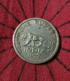 1947 george VI king emperor rare indian 1 rupee co