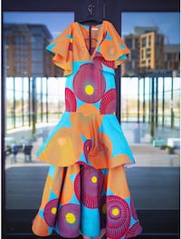 African Multi Colored Couture Gown Washington, 20020