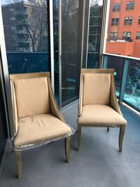 two brown wooden framed beige padded armchairs Arlington, 22209