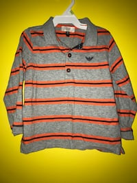 gray and orange Emporio Armani long-sleeved collared shirt 313 mi