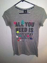 Gray small Victoria Secrets all you need is pink T-shirt