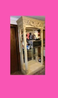 EGYPTIAN SHELF UNIT with LIGHTS and GLASS SHELFS you can fit a HUGE microwave on it