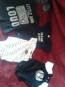baby's four black and white onesie and t-shirt