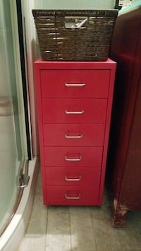 red metal 5-drawer cabinets with wheels