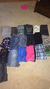 19 pairs of jeans and leggings
