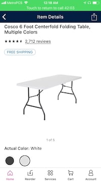 6 Inch Folding Table
