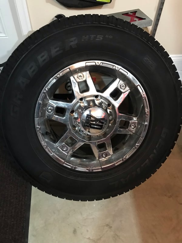 Chevy Truck Wheels and  Tires, 8 Lug for HD Pickup. Less than a year. 4 5b31c3ca-1c71-4ed4-b34d-bd261719dc13