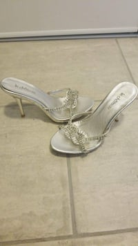 pair of gray leather open-toe heeled sandals London, N6E 3N1