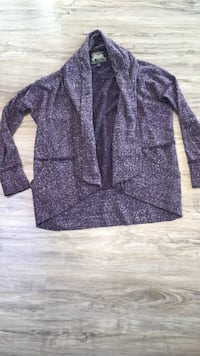 85$-ROOTS purple long cardi~S great condition barely used this one is super long and stretchy with thumb holes it's like cocoon super comfortable London, N5W 6E4